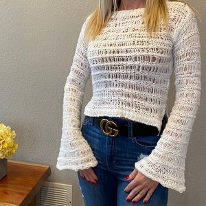 White, crop sweater, XS, never used